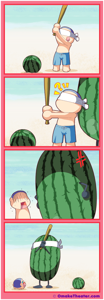 Friday 4Koma 第268話 - Smashing Watermelons 「4コマ漫画」