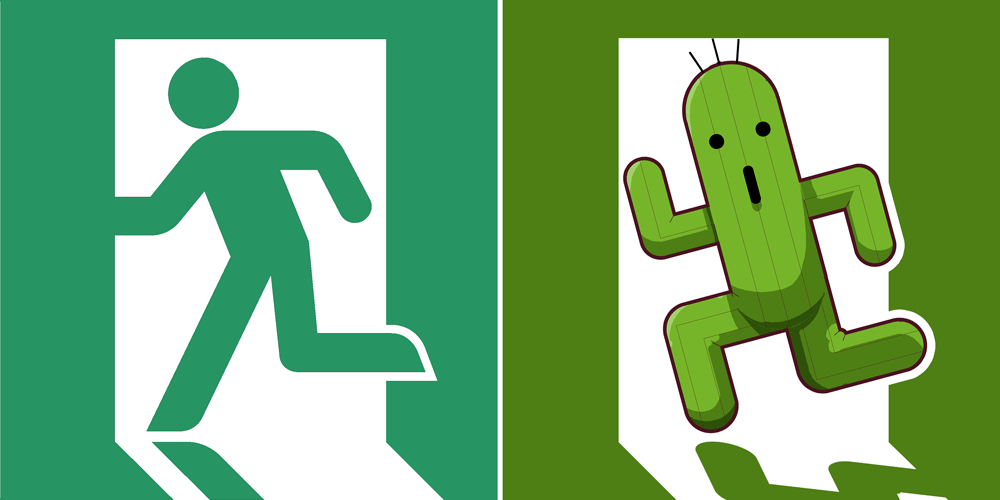 Exit Sign/Running Man/Cactuar